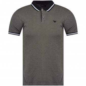 65ec6875edb1 Grey/Black Eagle Logo Polo Shirt