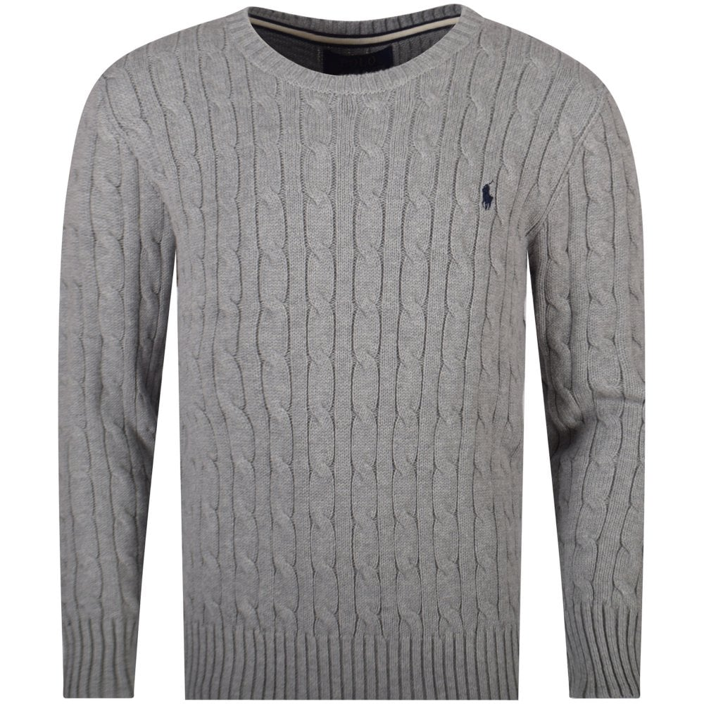 6a1722161c554f POLO RALPH LAUREN JUNIOR Grey Cable Knit Jumper - Junior from ...