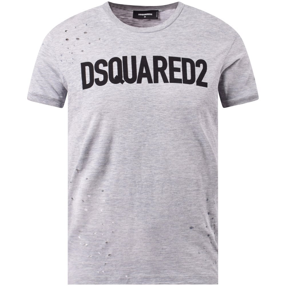 7b90313f DSQUARED2 Grey Distressed Logo T-Shirt - Men from Brother2Brother UK