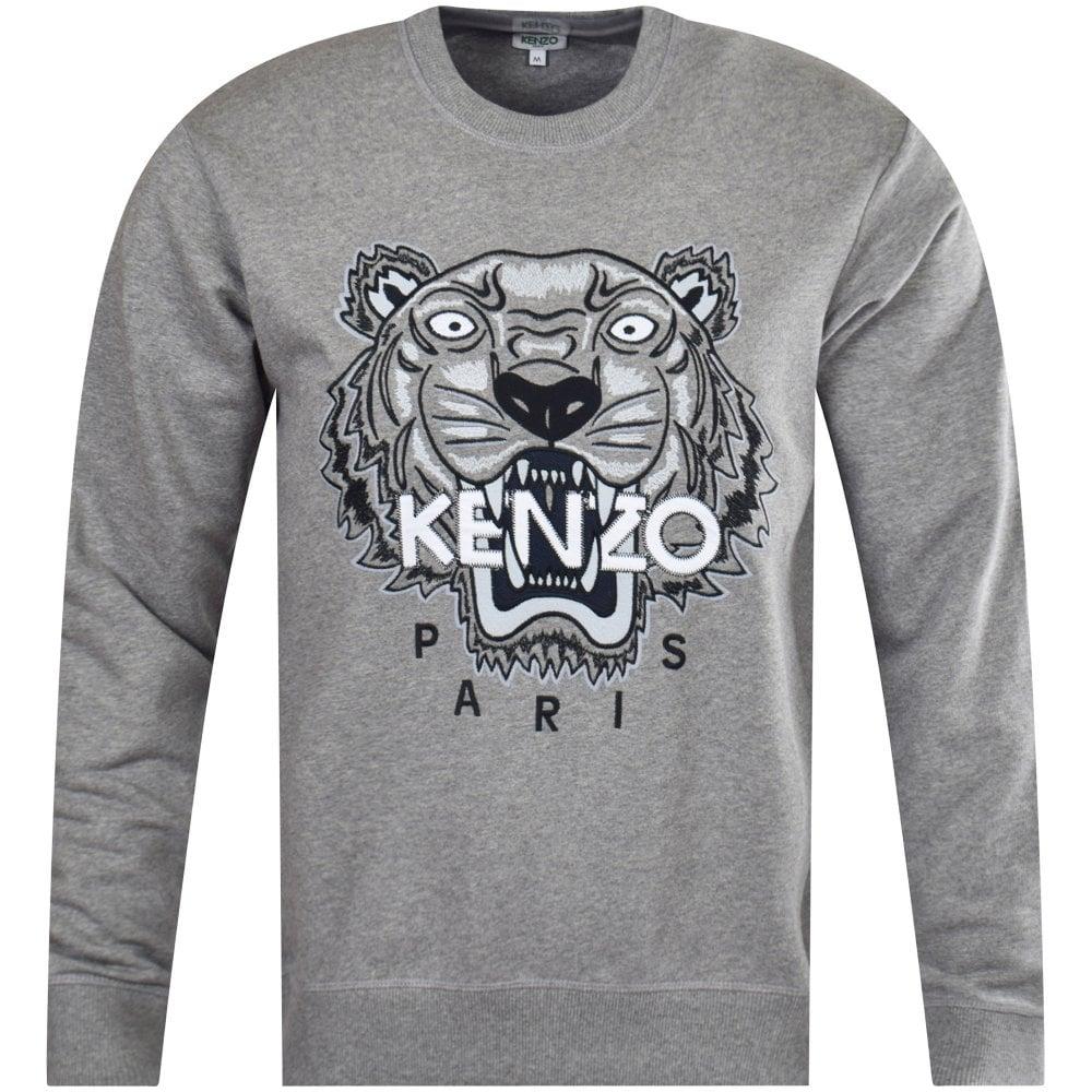 4da8dda3ce KENZO Grey Embroidered Tiger Sweatshirt - Department from ...