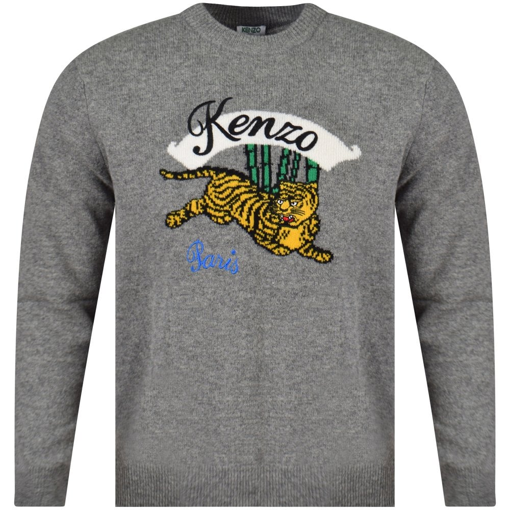 d3a275433 KENZO Grey Jumping Tiger Knit Jumper - Department from ...