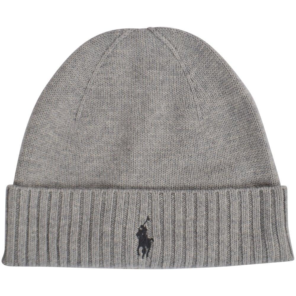 ea739978084 POLO RALPH LAUREN Grey Logo Beanie Hat