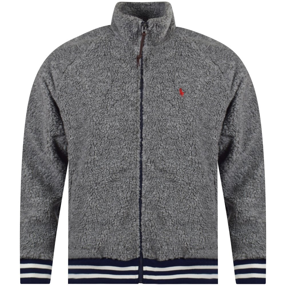 temperament shoes top-rated cheap fresh styles Grey Logo Embroidered Fleece Jacket