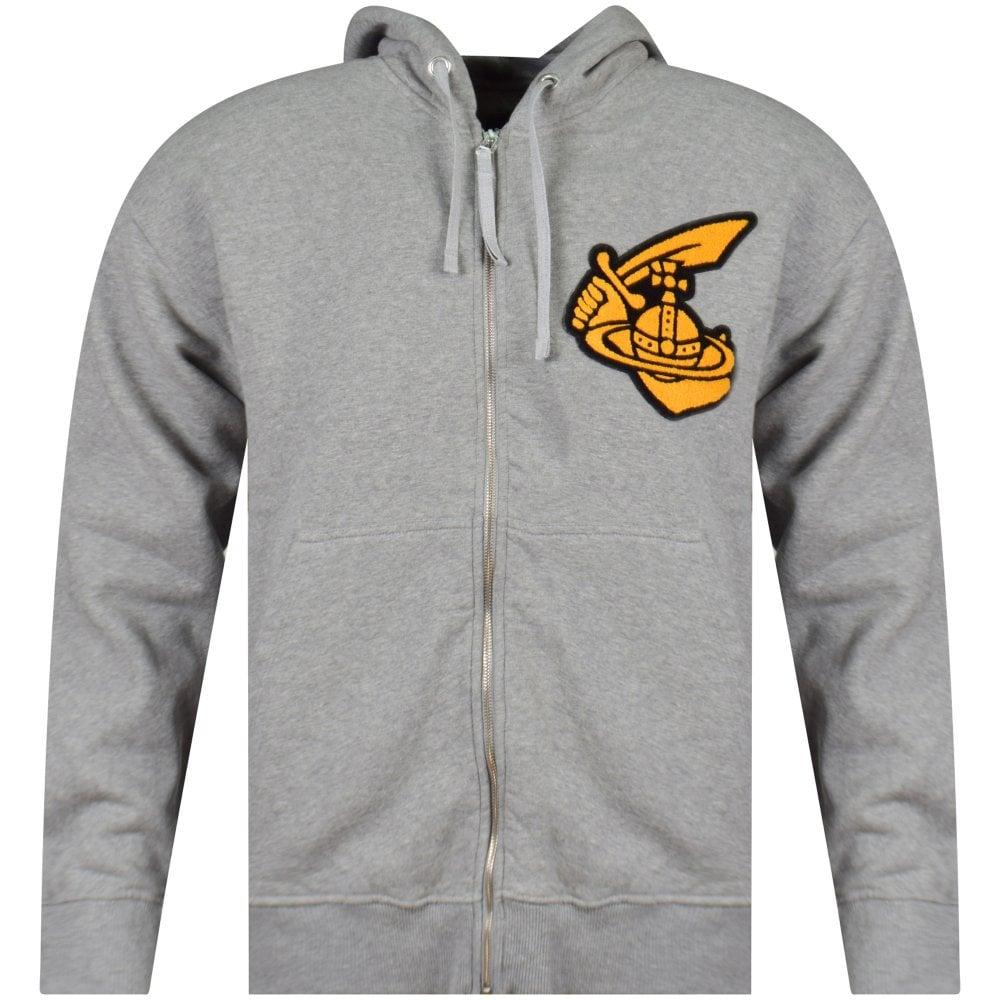ad805436b Grey Logo Patch Zip Hoodie
