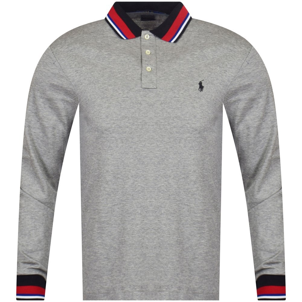 6cfb2f4117d8 POLO RALPH LAUREN Grey Logo Tipped Long Sleeve Polo Shirt - Polo ...