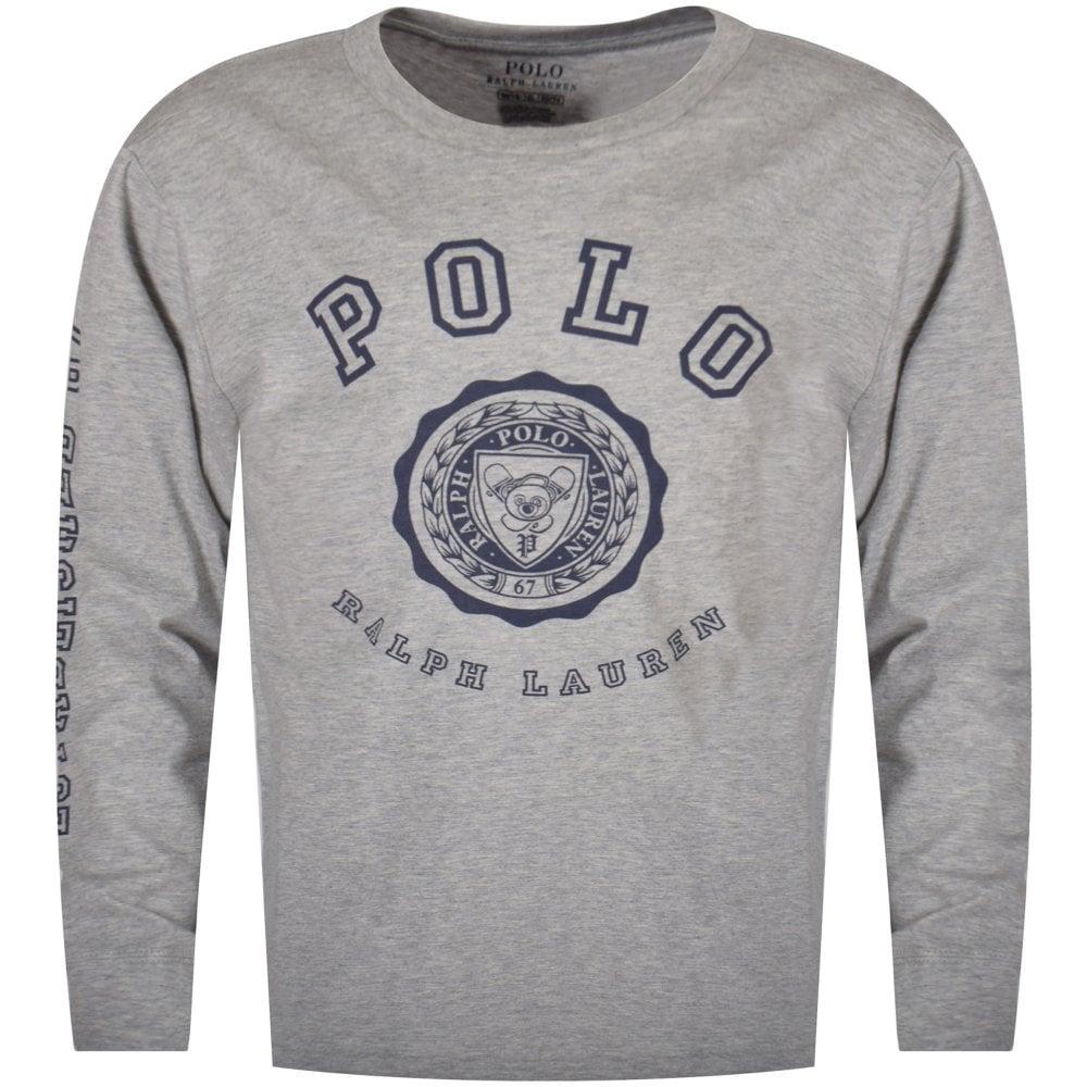 Polo Ralph Lauren Junior Grey Navy Large Logo Long Sleeve T Shirt