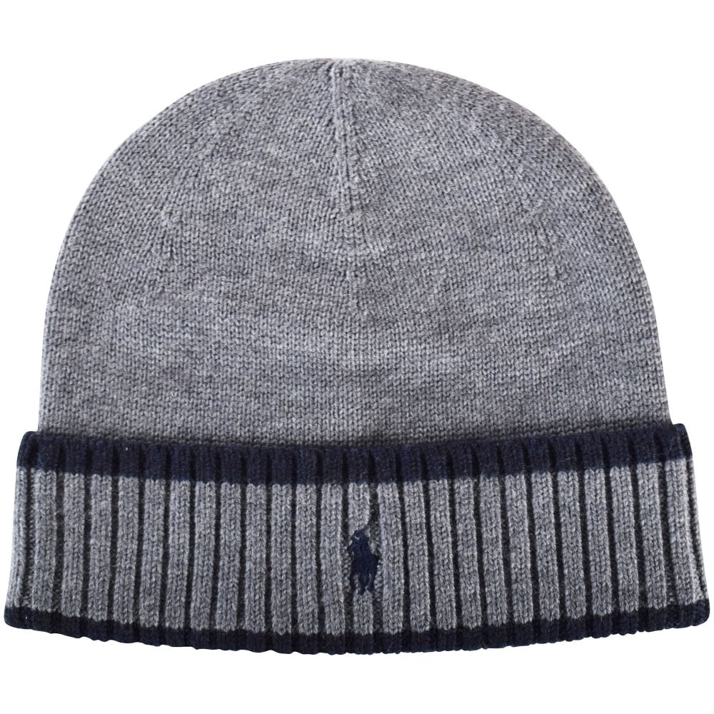 POLO RALPH LAUREN Grey Navy Logo Beanie Hat - Men from ... 20bc6cd3f5b