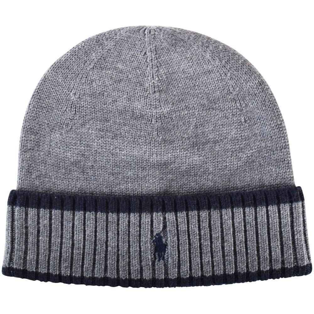 c290f84278b7d3 POLO RALPH LAUREN Grey/Navy Logo Beanie Hat - Men from ...