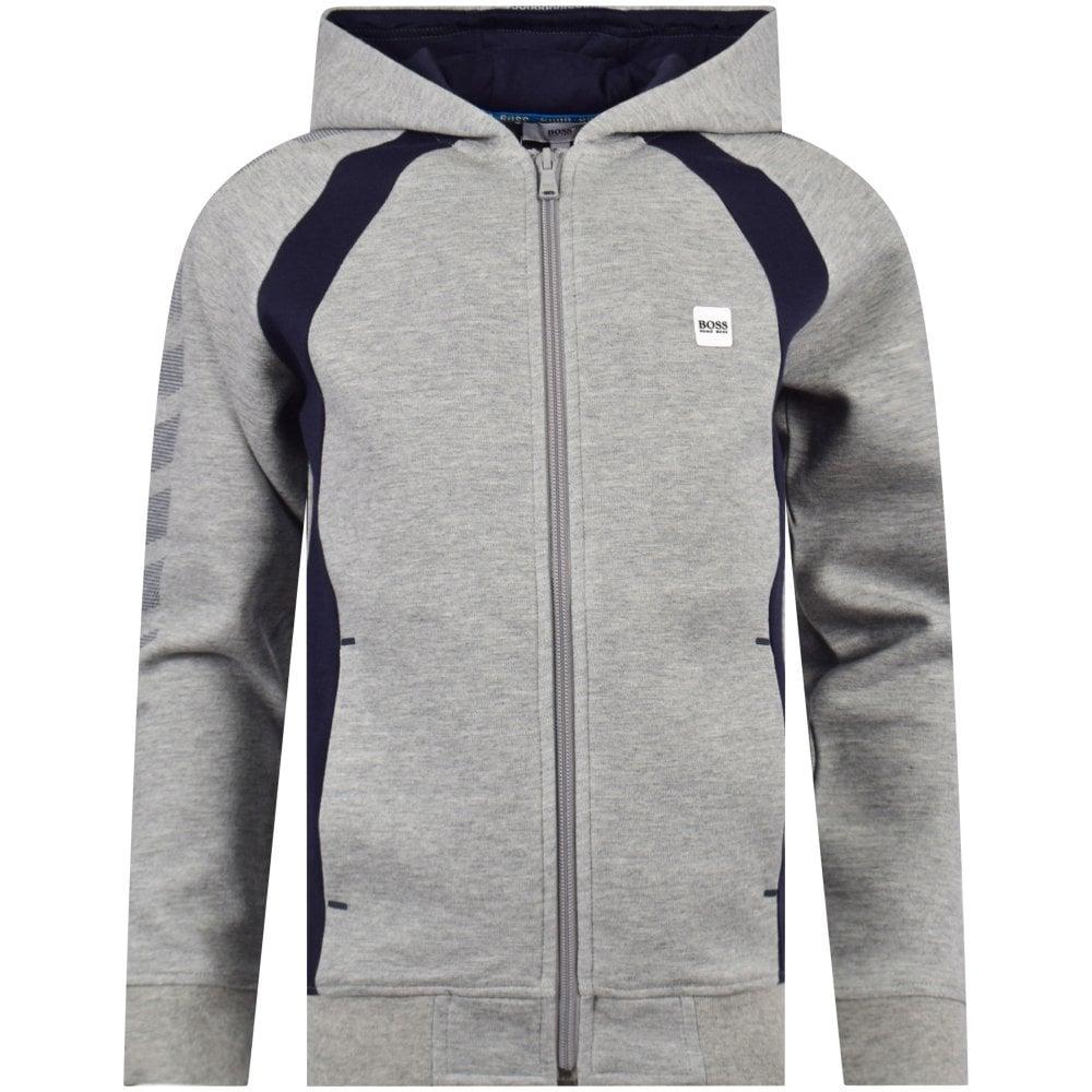 ca4d9ed96ce HUGO BOSS JUNIOR Grey Stripe Zip Hoodie - Department from ...