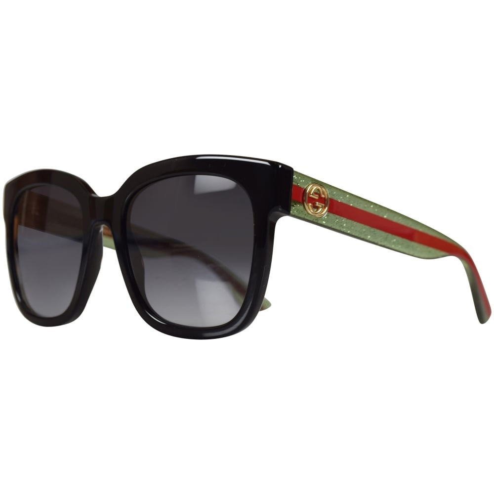 f86320f6e30 GUCCI SUNGLASSES Gucci Black Green Glitter Sunglasses - Men from ...