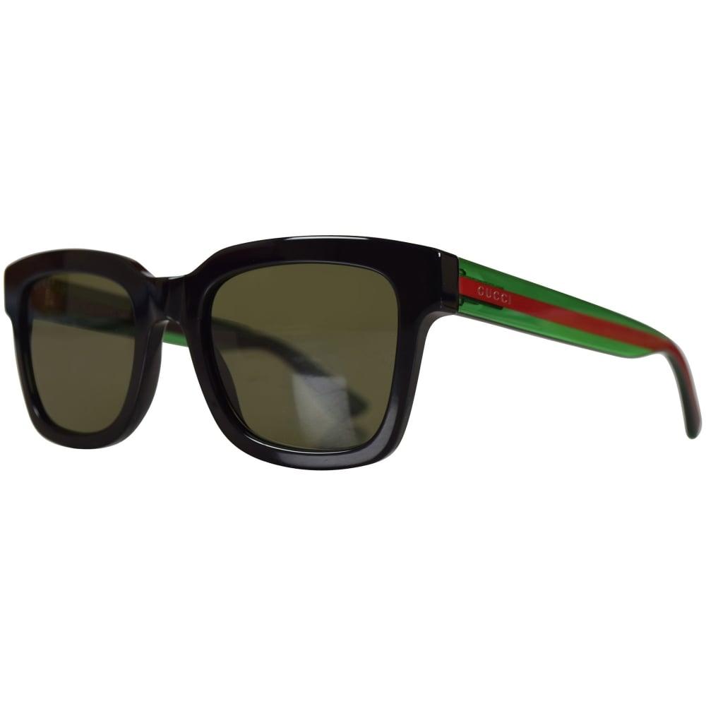 GUCCI SUNGLASSES Gucci Black/Green Square Frame Sunglasses - Men ...