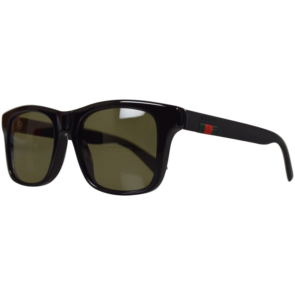 ab9752c7a411 GUCCI SUNGLASSES Gucci Black/Green Square Frame Sunglasses - Men ...