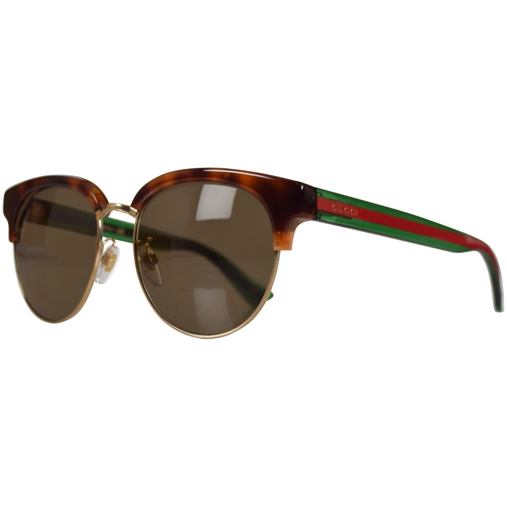 GUCCI SUNGLASSES Gucci Brown Round Frame Sunglasses - Men from ...