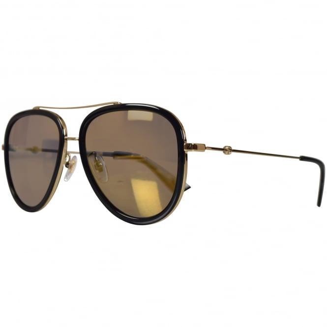 e245afbfc78 GUCCI SUNGLASSES Gucci Gold Black Frame Sunglasses - Men from ...