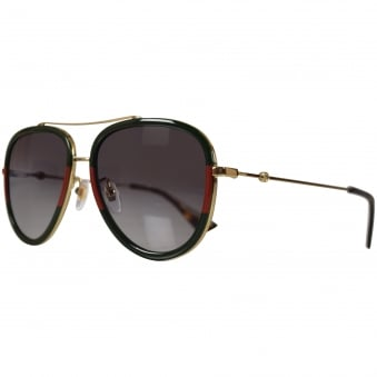 Gucci Gold/Green Frame Sunglasses