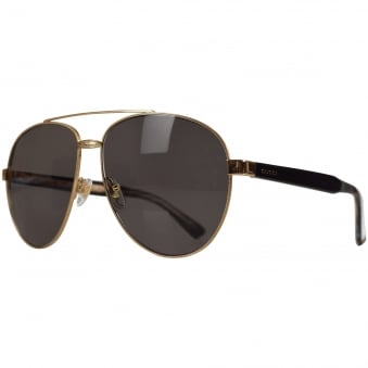 Gucci Gold Metal Aviator Sunglasses