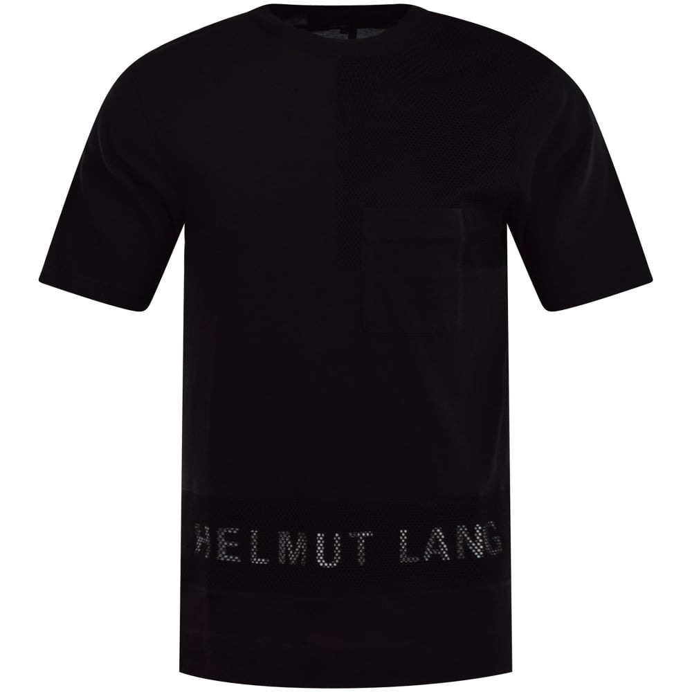 292de274 HELMUT LANG Helmut Lang Black Netted Logo T-Shirt - Junior from ...