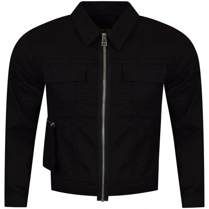 HELMUT LANG Black Zip Up Biker Jacket