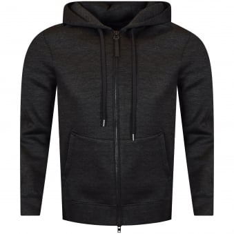 Helmut Lang Charcoal Neoprene Longline Zip Up Hoodie