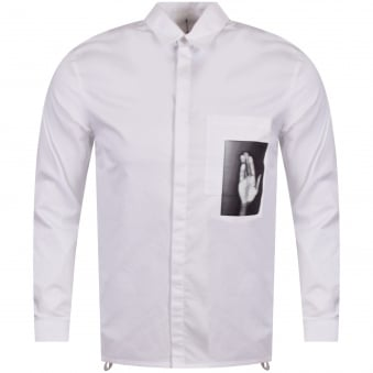 Helmut Lang Optic White Zip Split Shirt