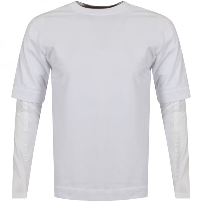 HELMUT LANG White Double Layer Logo T-Shirt