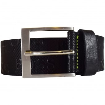 Hugo Boss Accessories Black Leather Text Logo Belt