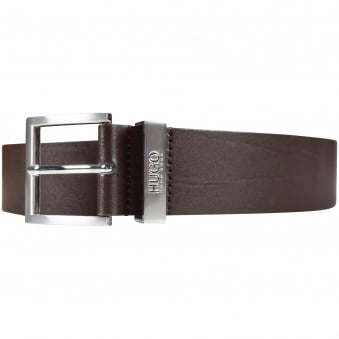 Hugo Boss Accessories Brown Leather Buckle Logo Belt