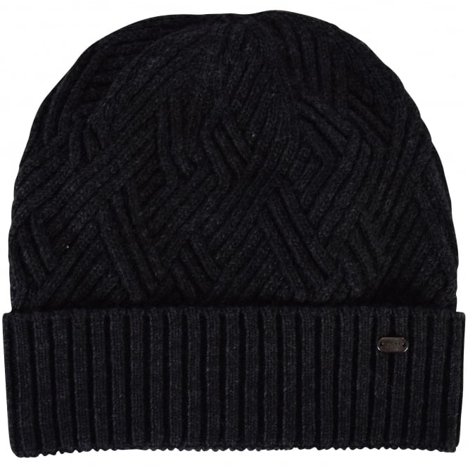 HUGO BOSS GREEN Hugo Boss Accessories Charcoal Woolen Beanie Hat