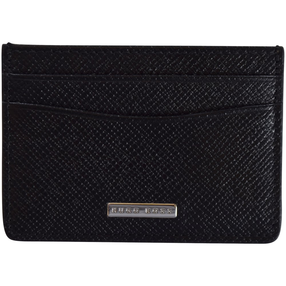 84c0a99547 BOSS Hugo Boss Signature Grained Leather Card Holder - Department ...