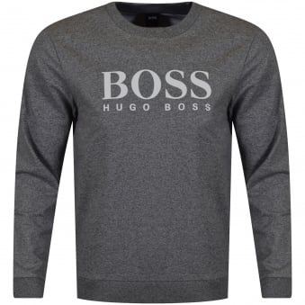 Hugo Boss Anthracite Grey Large Text Logo Sweatshirt