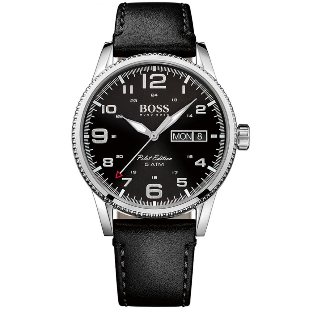 97c38889e HUGO BOSS WATCHES Hugo Boss Black Laather Pilot Edition Watch - Men ...