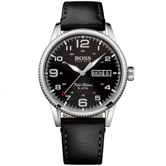 HUGO BOSS WATCHES Hugo Boss Black Laather Pilot Edition Watch
