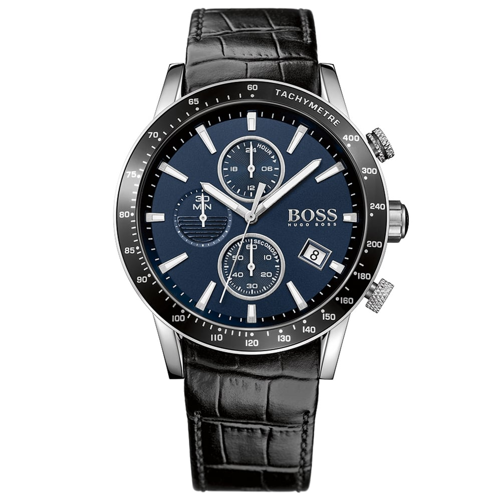 HUGO BOSS WATCHES Hugo Boss Black Leather Blue Dial Watch - Men from ... 086a97b23