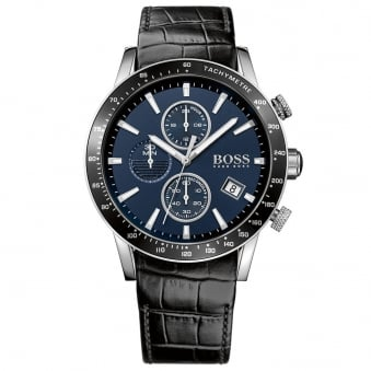 Hugo Boss Black Leather Blue Dial Watch