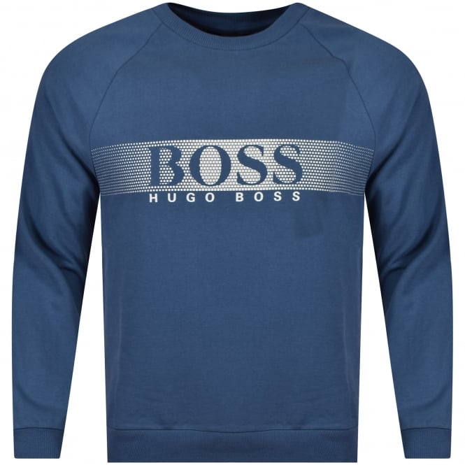 HUGO BOSS Blue/White Pixel Block Logo Sweatshirt