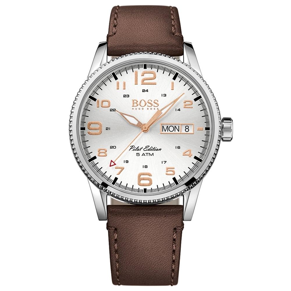 93870da31 HUGO BOSS WATCHES Hugo Boss Brown Leather Pilot Edition Watch ...