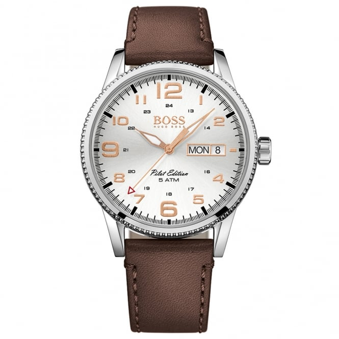 HUGO BOSS WATCHES Hugo Boss Brown Leather Pilot Edition Watch