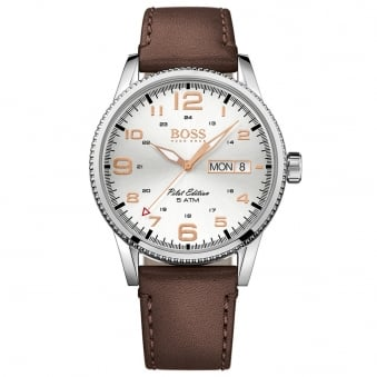 Hugo Boss Brown Leather Pilot Edition Watch