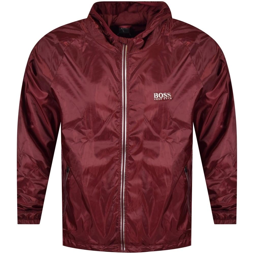 hugo boss hugo boss burgundy lightweight logo jacket men