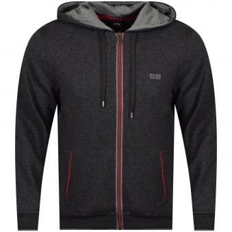 Hugo Boss Charcoal/Red Trim Zip Up Hoodie
