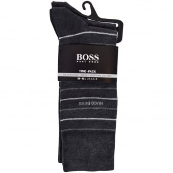 Hugo Boss Charcoal Two Pack Finest Cotton Socks