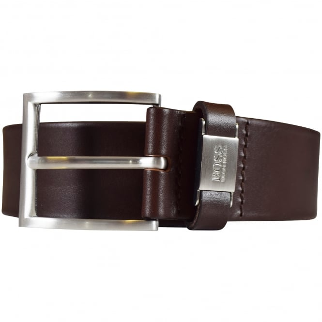 HUGO BOSS Dark Brown 'Connio' Leather Belt