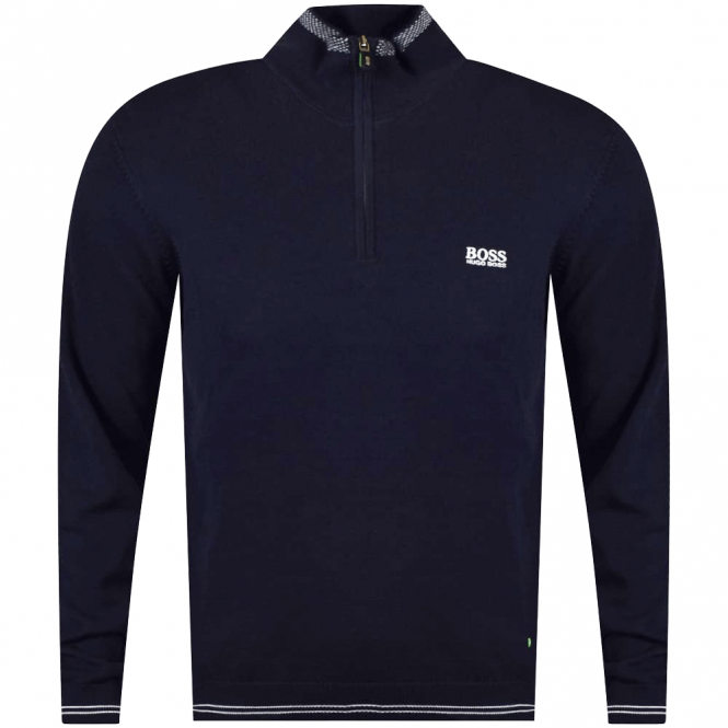 HUGO BOSS GREEN 1/4 Zip Navy Jumper