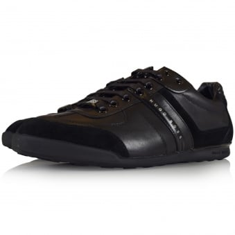 Hugo Boss Green Aki Triple Black Leather/Suede Trainers