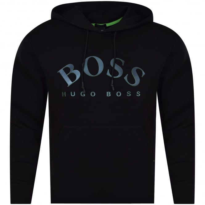 HUGO BOSS GREEN Black Hooded Logo Sweatshirt