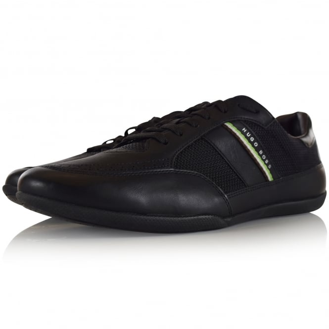 HUGO BOSS GREEN Black Leather Stripe Logo Trainers