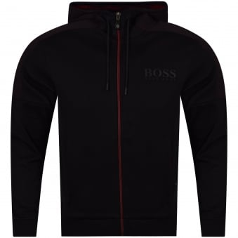 Hugo Boss Green Black/Red Logo Zip Up Hoodie