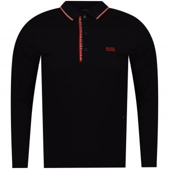 Hugo Boss Green Black/Red Trim Logo Long Sleeve Polo Shirt