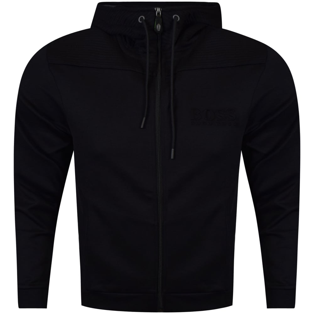 Hugo Boss Green Black Zip Through Ribbed Panel Hoodie