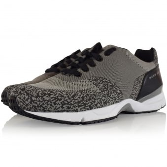 Hugo Boss Green Grey Knitted Velocity Trainers